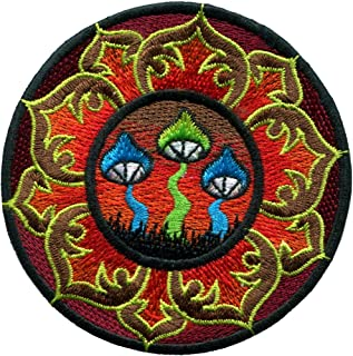 Mushroom Lotus Boho Hippie Retro Love Peace Weed Trance Embroidered Applique Iron-on Patch New