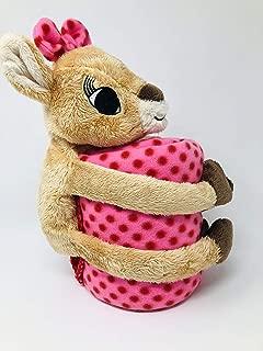 Clarice Reindeer with Polka Dot Fleece Throw Blanket