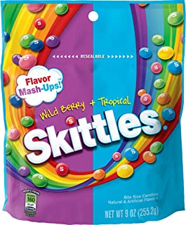 Skittles Flavor Mash-Ups Wild Berry and Tropical Candy, 9 oz
