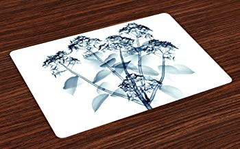 Lunarable Flower Place Mats Set of 4, Negative Image of Hortentia Flower Different X-ray Vision of Nature Photo Artwork, Washable Fabric Placemats for Dining Room Kitchen Table Decor, Teal White