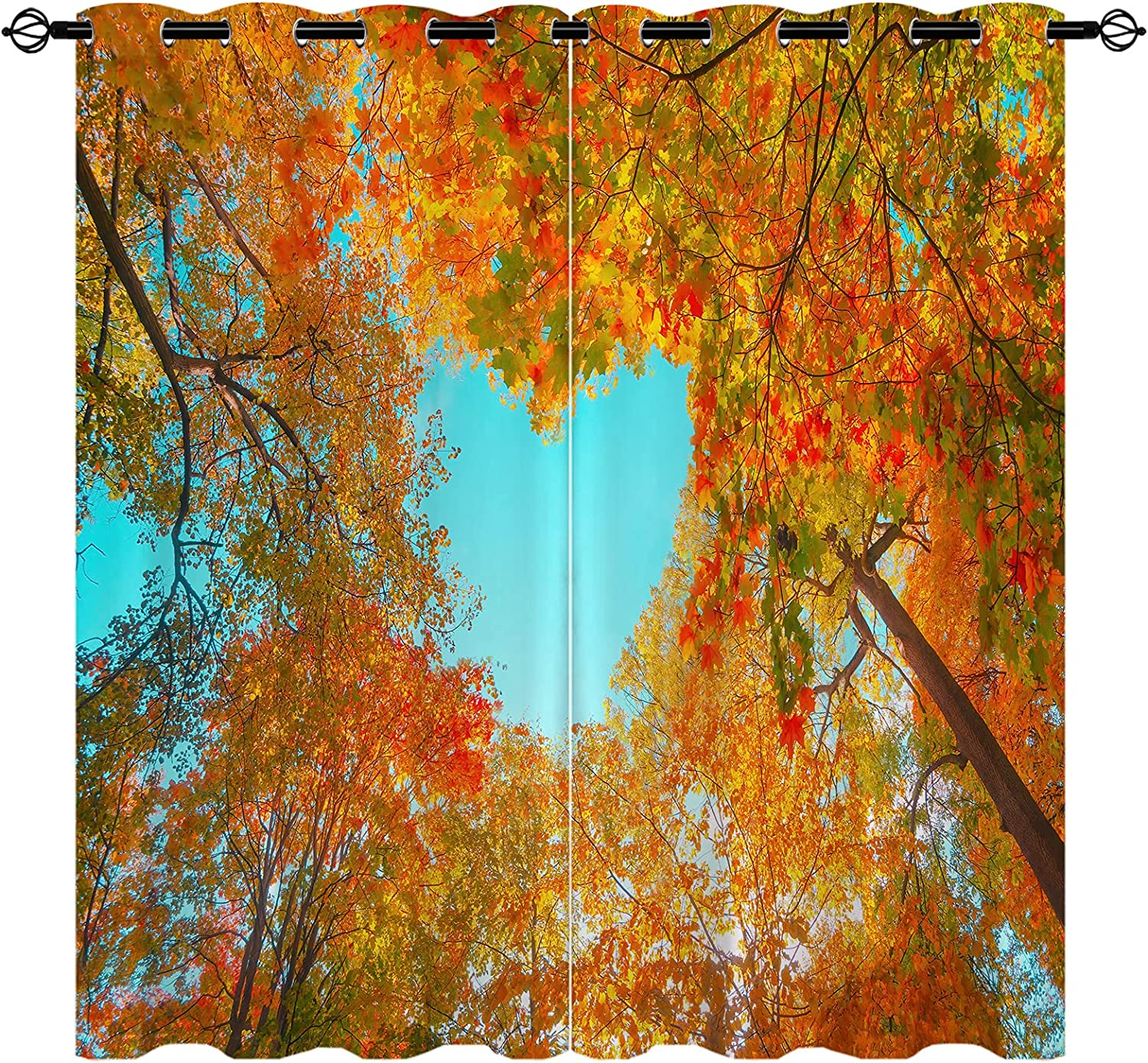 Autumn Forest Max 62% OFF Insulated Max 71% OFF Blackout Curtains Tree Red Color Orange