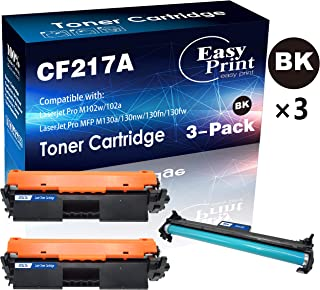 (2 Toners + 1 Drum, 3-Pack) Compatible 2-Pack CF217A 17A Toner Cartridge & 1-Pack 19A CF219A Drum Unit Used for Laserjet Pro M102A 102W MFP M130A 130NW 130FN 130FW Printer, by EasyPrint