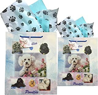 Dog Breed Gift Bags Set of Two with Tissue Paper (Poodle)