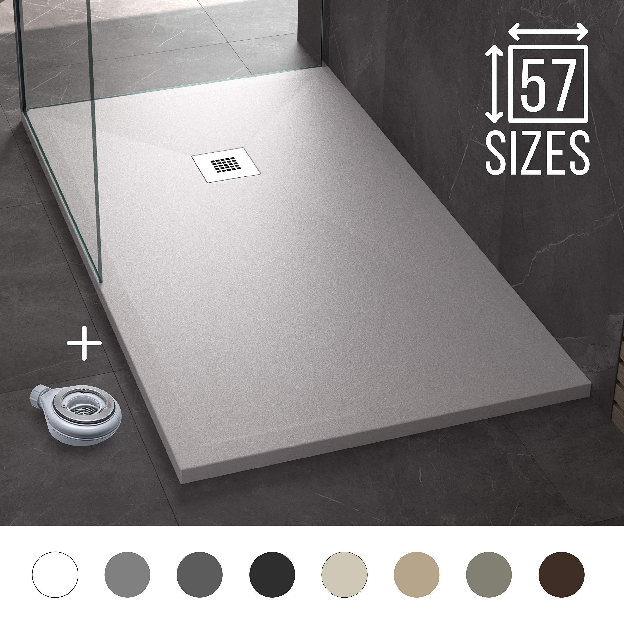 Plato de Ducha Resina Pizarra Stone 90 x 120 - Antideslizante y Rectangular - Todas las medidas disponibles - Incluye Sifón y Rejilla - Blanco RAL 9003: Amazon.es: Bricolaje y herramientas