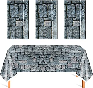 Cobblestone Tablecloth Stone Printed Table Cover Medieval Table Decoration Plastic Tablecloth Stone Brick Tablecovers for ...
