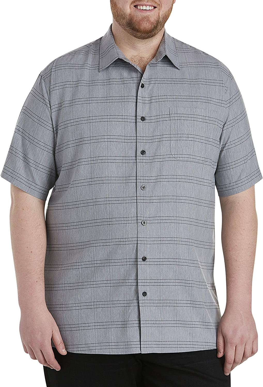 DXL Synrgy Big and Tall Large Plaid Microfiber Sport Shirt, Grey