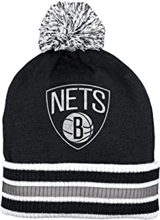 adidas Brooklyn Nets Double Sided Striped Cuff Pom Knit Beanie Hat/Cap