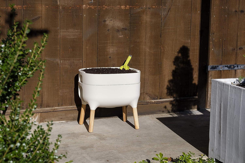 Alfresco Home 614-1712 Urbalive Low FSC Hardwood Legs-Ivory Finish Self Watering Planter