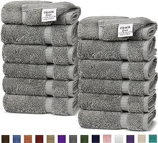 Chakir Turkish Linens Turkish Cotton Luxury Hotel & Spa Bath Towel, Wash Cloth - Set of 12, Gray