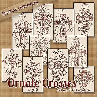 Redwork Ornate Crosses Christian Embroidery Machine Designs on CD - Multiformat