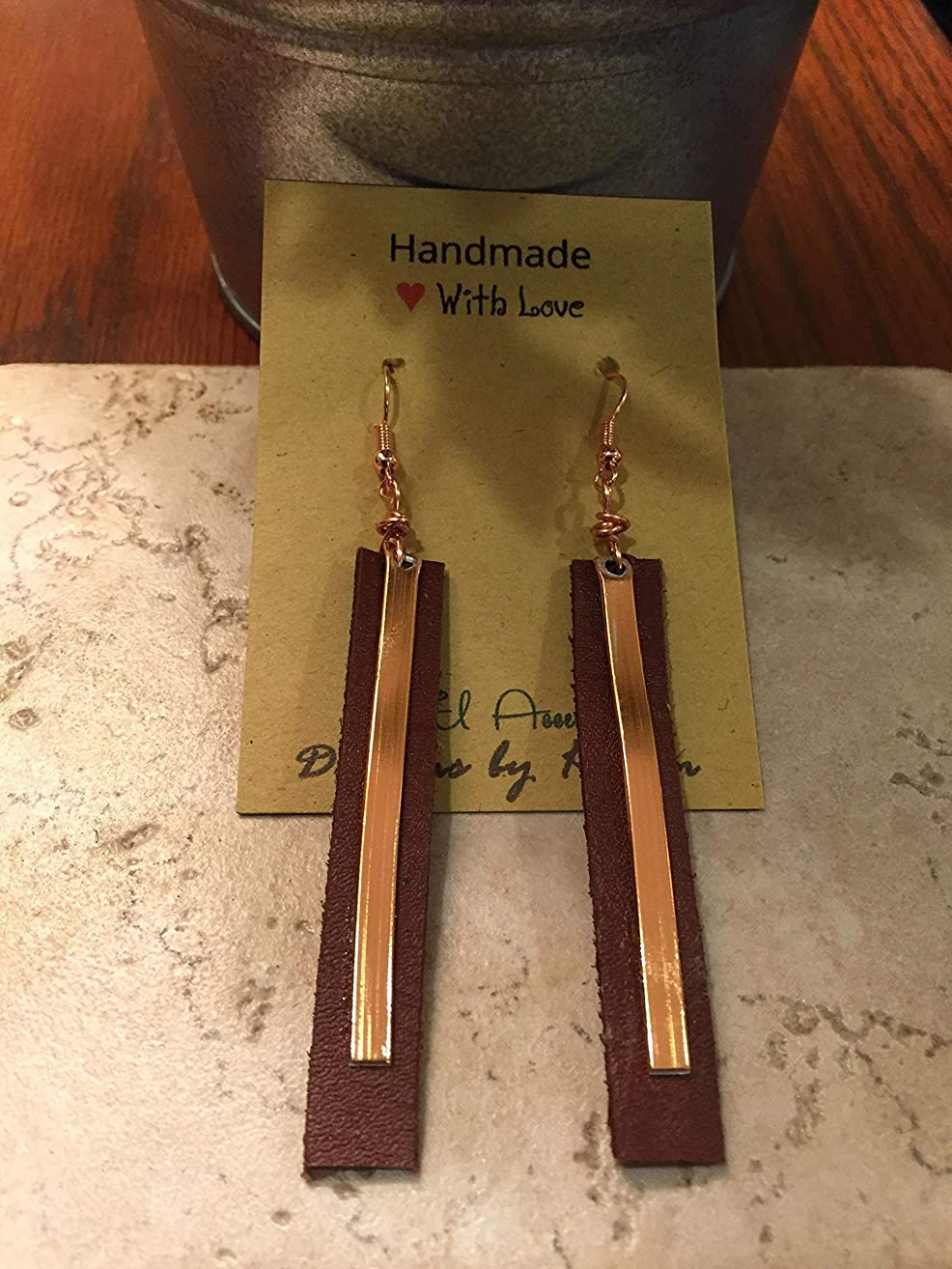Leather and Copper Long Drop earrings Lever Backs Essential oil diffuser earrings Gift Idea Rustic handcut Brown Leather