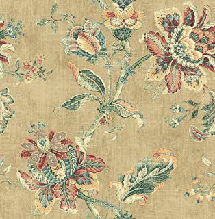 Wallpaper Classic Tapsetry Jacobean Bright Multi Color Floral Vine on Light Tan