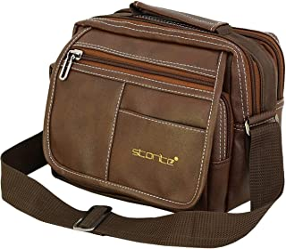 Storite Stylish PU Leather Sling Cross Body Travel Office Business Messenger One Side Shoulder Bag for Men Women(22.5x12.5...