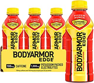 BODYARMOR EDGE Sports Drink with Caffeine, Power Punch, Potassium-Packed Electrolytes, Caffeine Boost, Natural Flavors Wit...