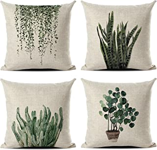 (Green Plants) - Set of 4 Green Plant Throw Pillow Covers Decorative Cotton Line Outdoor Cushion Cover Sofa Home Pillow Co...