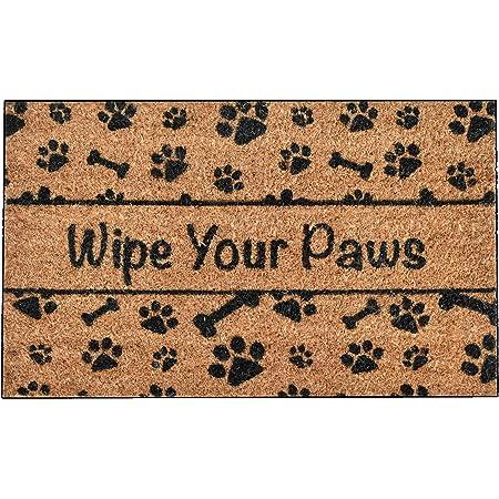 Amazon Com Rubber Cal Wipe Your Paws Dog Doormat 18 By 30 Inch Animal Print Door Mat Garden Outdoor