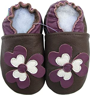 carozoo wildflower purple 4-5y soft sole leather kids shoes slippers