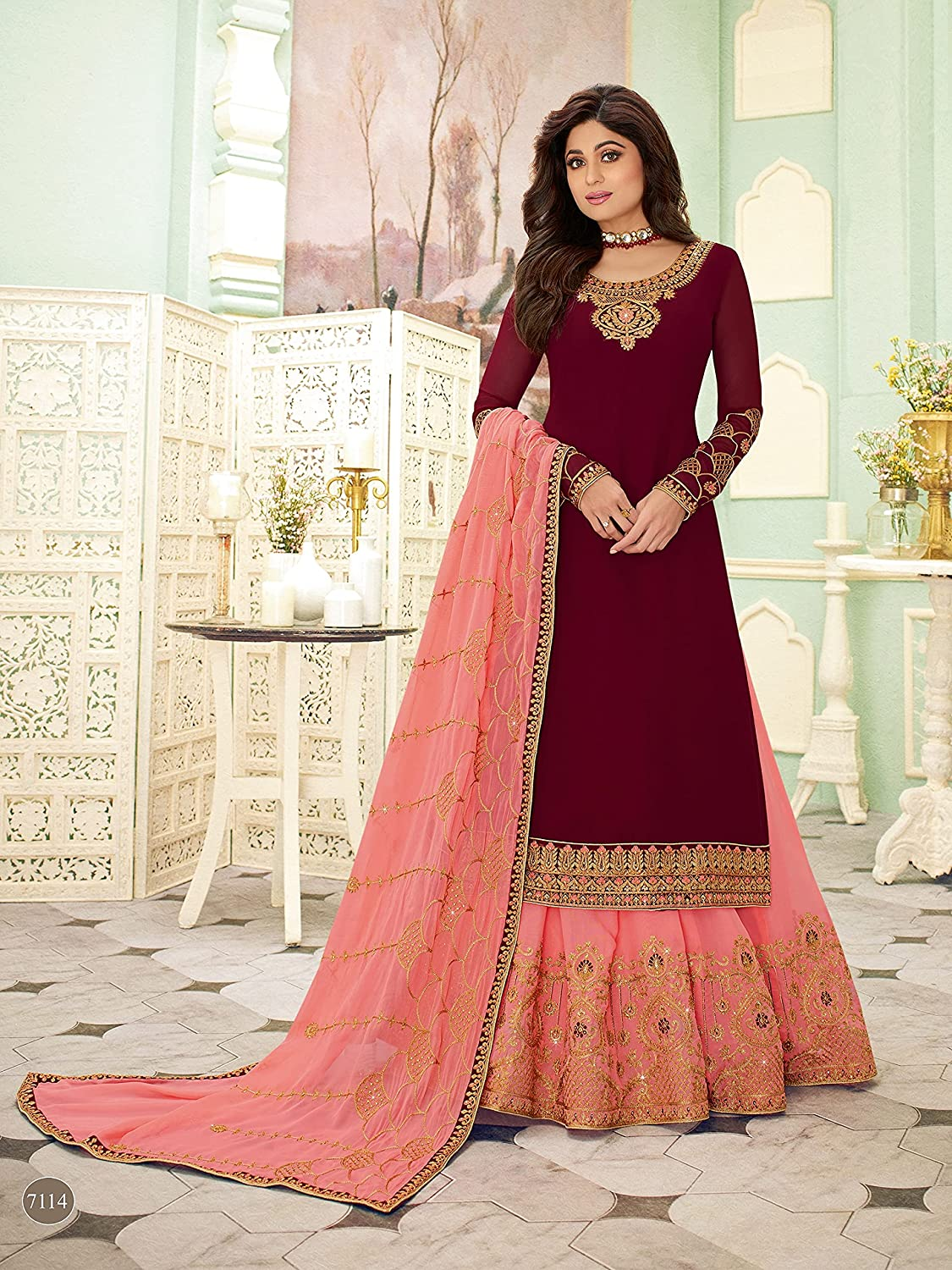 Readymade Indian/Pakistani Party/Ethnic Wear Georgette Straight Ghaghra/Lehenga Style Salwar Kameez Suit for Womens