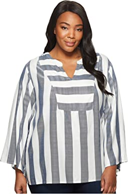 Plus Size Bell Sleeve Refined Herringbone V-Neck Shirt