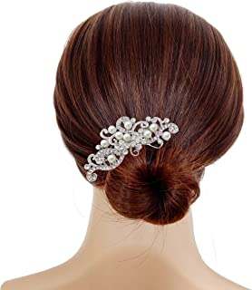 Bridal Wedding Hair Piece Crystal Rhinestones Pearls Women Hair Side Combs for Prom Crystal Headpiece for Women, Silver