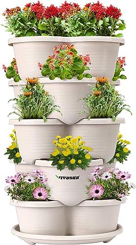 popular VIVOSUN 5 Tier Vertical Gardening Stackable Planter sale for outlet online sale Strawberries, Flowers, Herbs, Vegetables outlet sale