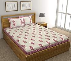 BLOCKS OF INDIA Hand Block Printed 300 TC Cotton King Size Bedsheet (Pink Paisley)
