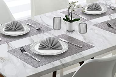 Dainty Home Reversible Metallic Lacey Place Mats Slip Resistant Dining Table Indoor Outdoor Placemats Set of 4, 12 inch x 18 inch Rectangle, Textured Shimmer Silver, 4 Count