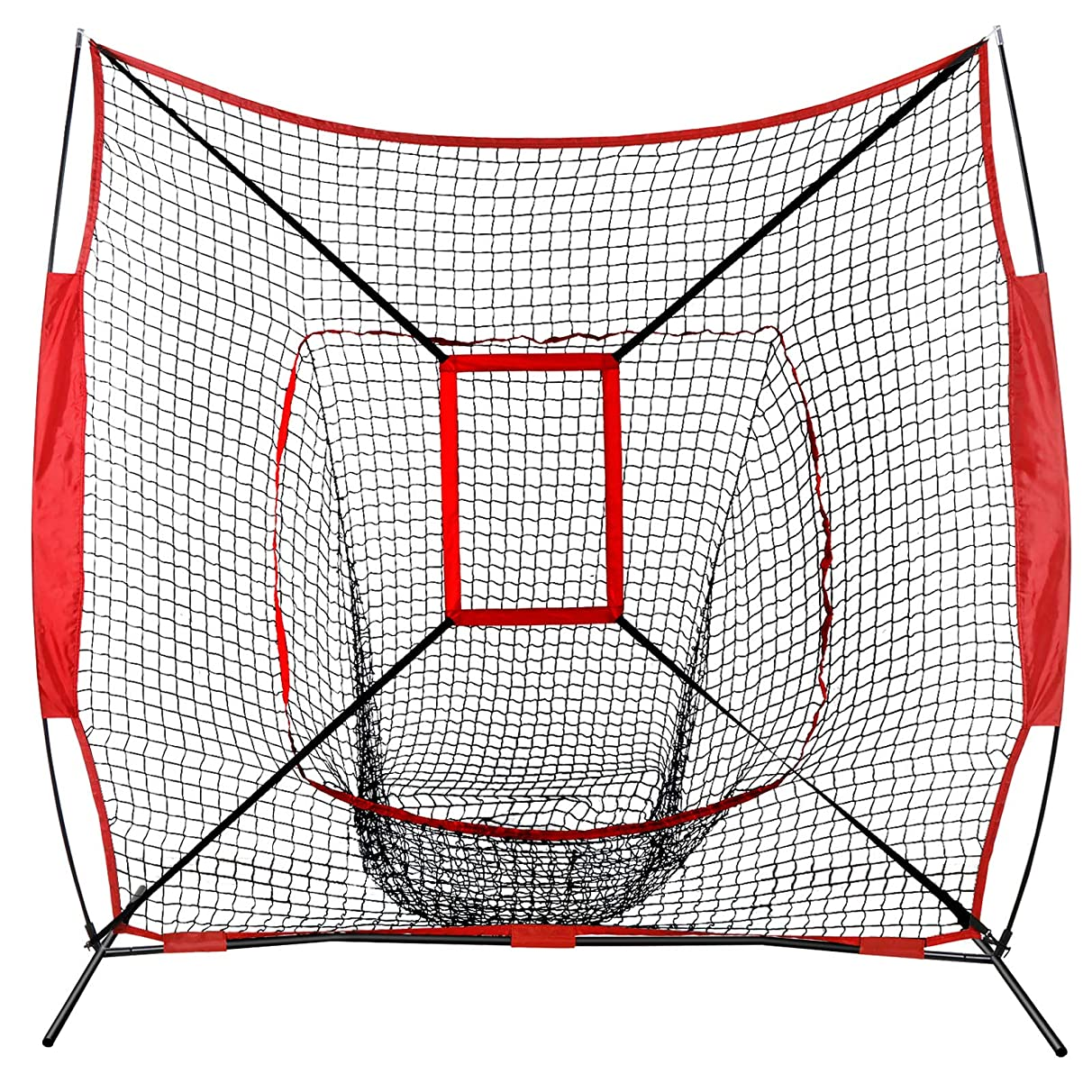 JupiterForce 7' x 7' Baseball Softball Practice Hitting Pitching Net with Bow Frame,Carry Bag,Great for All Skill Levels