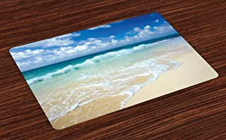 Lunarable Wave Place Mats Set of 4, Beach with Foamy Waves on Empty Sea Shore Holiday Theme Serene Coastal, Washable Fabric Placemats for Dining Table, Standard Size, Sand Blue