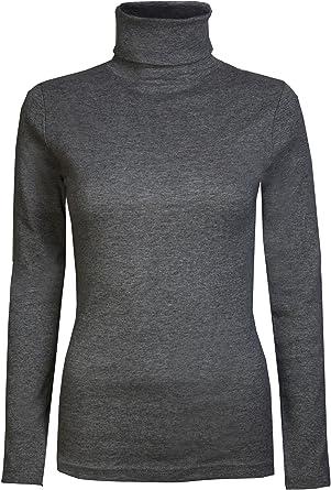 Brody & Co - Camiseta de manga larga y cuello alto para mujer, térmica, algodón
