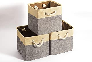 BBQ Future Set of 3 Collapsible Storage Bins Basket Foldable Canvas Fabric Tweed Storage Cubes Set with Handles for Babies Nursery Toys Organizer (Beige+Gray, 15