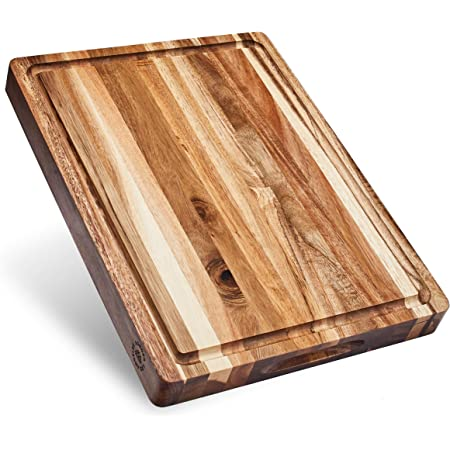 Sonder Los Angeles, Thick Sustainable Acacia Wood Cutting Board with Juice Groove, Sorting Compartment 16x12x1.5 in (Gift Box Included)