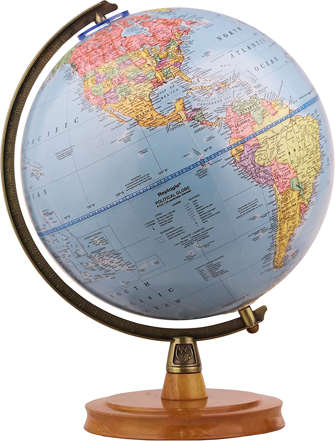 Replogle Surveyor World bluee Ocean Political Globe, Desktop Model (9  23cm Diameter) Made in USA