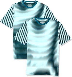 comprar comparacion Amazon Essentials - Pack de 2 camisetas de manga corta con cuello redondo y diseño a rayas para hombre
