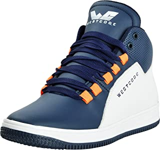 WESTCODE Mens Blue Boots Synthetic Leather High Top Casual Shoes and Sneakers