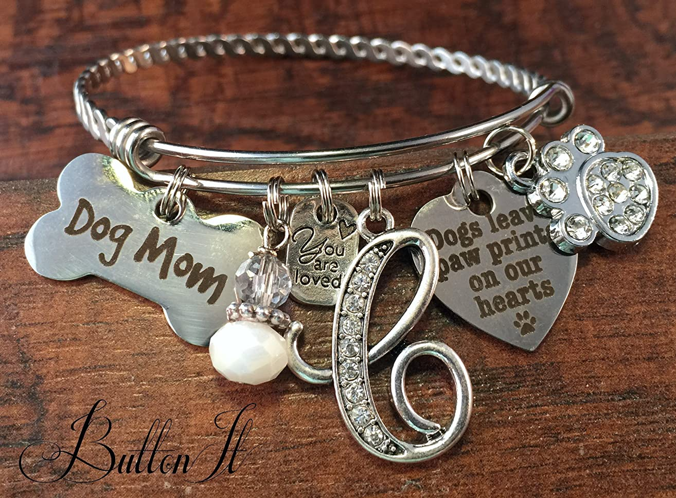BANGLE bracelet, Pet loss gifts, Dog mom, Animal lover jewelry, Pet memorial, charm bracelet, Dogs leave paw prints on our hearts, INITIAL jewelry