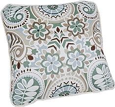 Ellis Curtain Paisley Prism Jacobean Floral Print Toss Pillow, 17 by 17-Inch, Latte