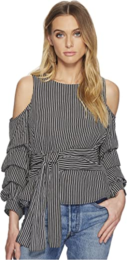 Striped Cold Shoulder Top with Ruched Sleeve