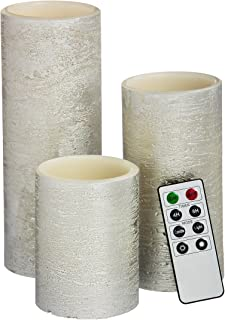 Cypress Home Silver Battery Operated Flameless LED Wax Pillar Candle with Remote, Set of 3