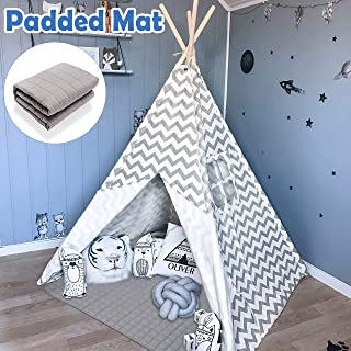 Teepee Tent for Kids with Padded Mat- Play Tent for Boy Girl Indoor & Outdoor, Gray..