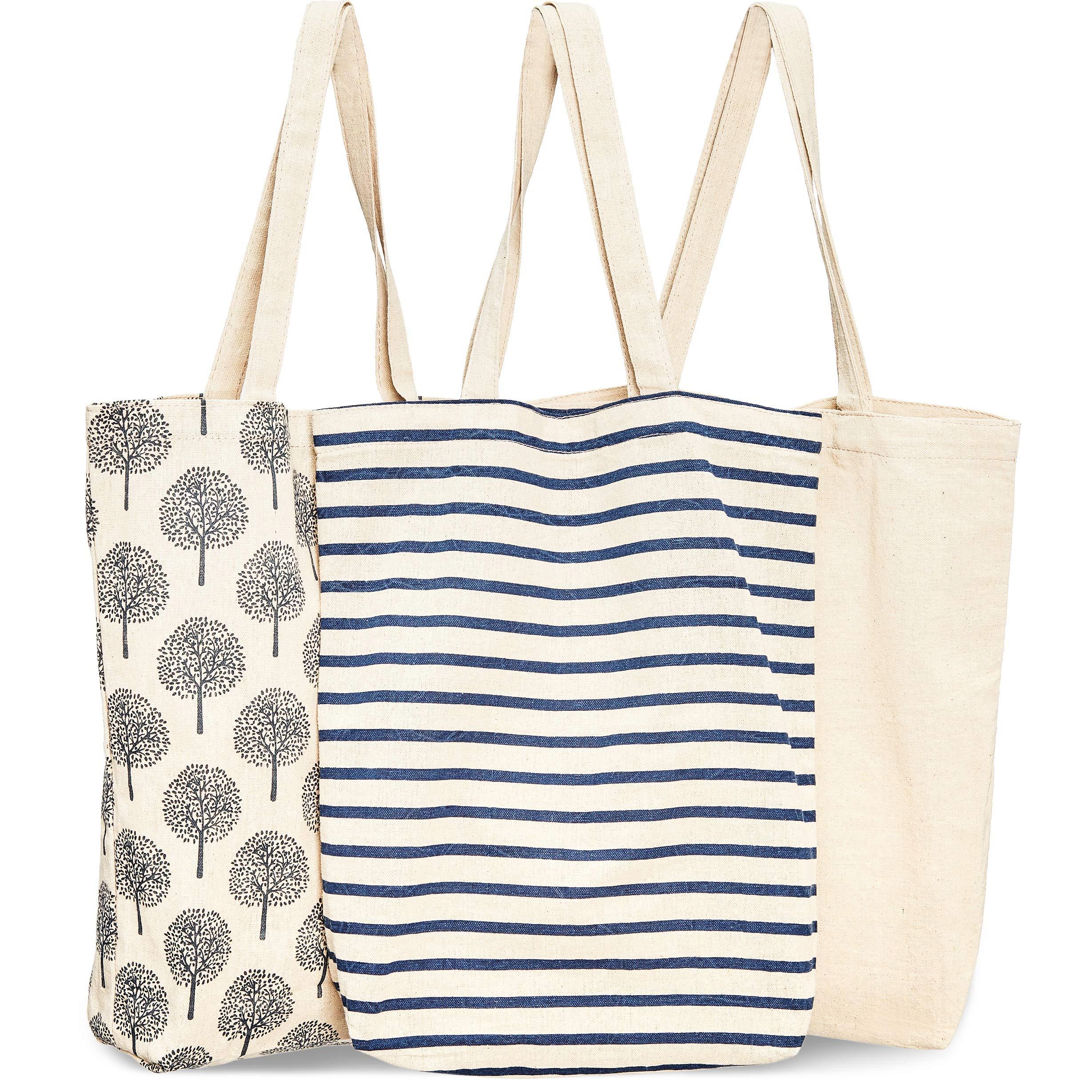 Bolsas reutilizables para comestibles, 3 unidades, 3 diseños diferentes, bolsas con asas para la compra de algodón duraderas, 38 x 42 x 9,4 cm: Amazon.es: Hogar