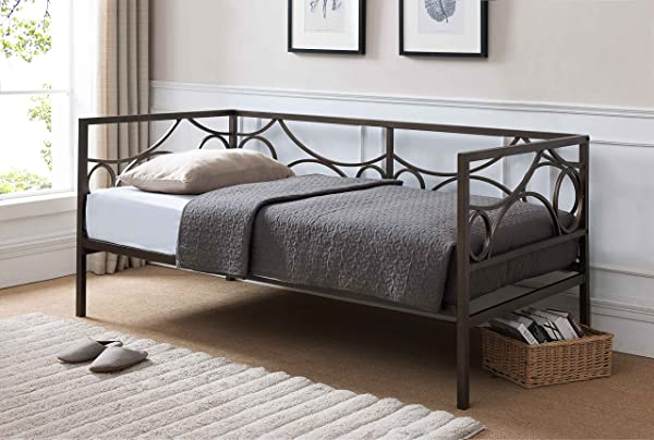 Kings Brand Furniture Pewter Finish Metal Twin Size Daybed Frame