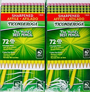Ticonderoga Sharpened Pencils #2 HB Premium Wood Latex-Free Eraser, (144 Pencils)