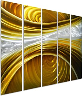 Pure Art Infinite Brown - Abstract Metal Wall Art Painting - Brown Silver Gold Hanging Sculpture - Modern Set of 5 Small Panels Decoration of 34