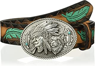 ARIAT Women's Turquoise Feather Chief Wolf Buckle Belt