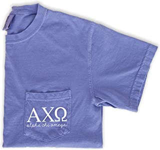 Alpha Chi Omega Script Letters Shirt Sorority Comfort Colors Pocket Tee