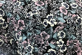 Amornphan 60 Inches Pink Flowers Forest Canvas Printed Cotton Polyester Design Decorative Denim Fabric Stripes Stretch for Jean Upholstery Sofa by The Yard (Black)