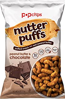popchips Nutter Puffs Peanut Butter & Chocolate 4 Oz Bags (Pack Of 12)