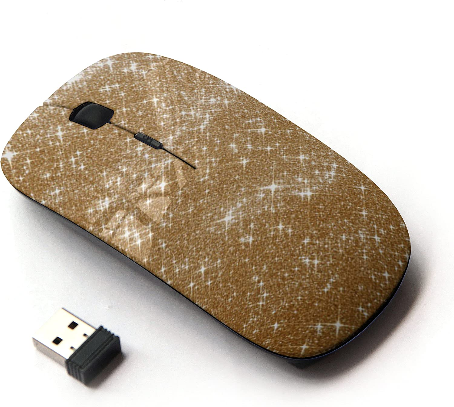 KawaiiMouse [ Optical 2.4G Wireless Mouse ] Gold Sparkle Bright Bling Fashion Design