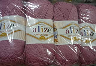 50% Cotton 50% Acrylic Soft Yarn for Baby Blanket Alize Cotton Baby Soft Crochet Lace Embroidery Art Craft Sewing Kit Hand Knitting Yarn Lot of 4skn 400gr 1180yds Color Baroque Rose 520